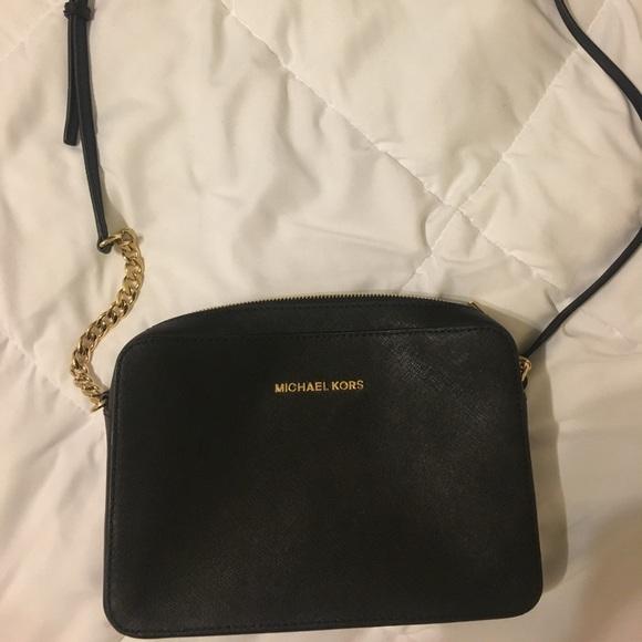 Black Michael Kors Ginny Leather Crossbody